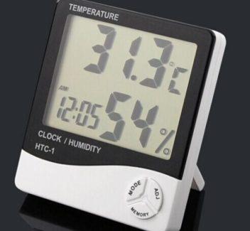 თერმო ჰიგრო მეტრი +საათი HTC-1 (4471)